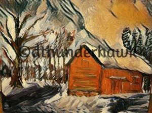 winter barn_picasso style 2400x3200 300dpi_watermarked