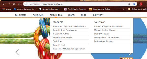 copyright clearance ctr author options